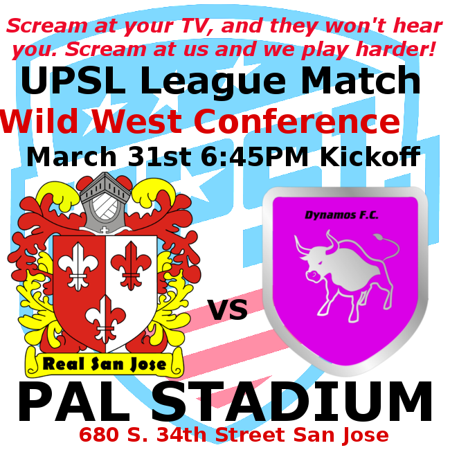 March 24. Real San Jose hosts AFC Hearts