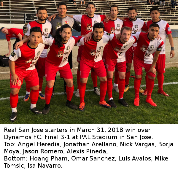 March 31. Real San Jose defeats Dynamo FC